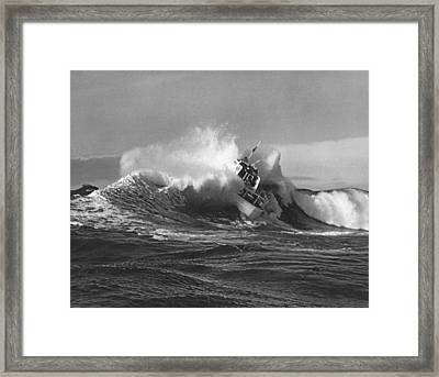 Coast Guard Surf Rescue Boat Framed Print by Underwood Archives