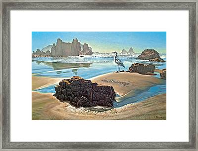 Coast With Great Blue Heron Framed Print by Paul Krapf