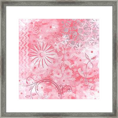 Coastal Decorative Pink Peach Floral Chevron Pattern Art Pink Whimsy By Madart Framed Print by Megan Duncanson