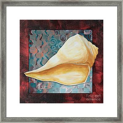 Coastal Decorative Shell Art Original Painting Sand Dollars Asian Influence II By Megan Duncanson Framed Print by Megan Duncanson