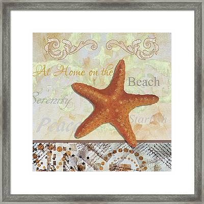 Coastal Decorative Starfish Painting Decorative Art By Megan Duncanson Framed Print by Megan Duncanson