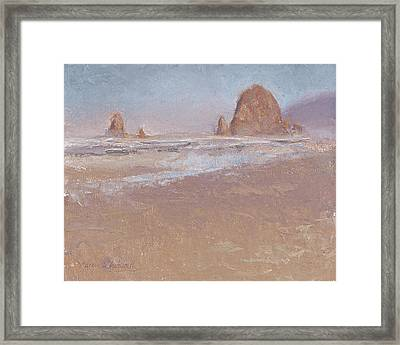 Coastal Escape  Cannon Beach Oregon And Haystack Rock  Framed Print by Karen Whitworth