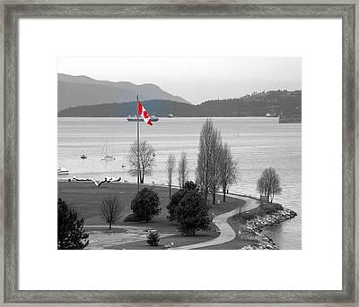 Coastal Canadian Flag Framed Print by Brian Chase