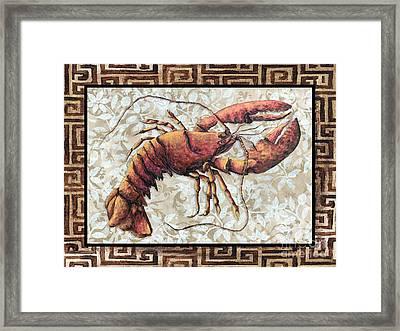 Coastal Lobster Decorative Painting Greek Border Design By Madart Studios Framed Print by Megan Duncanson