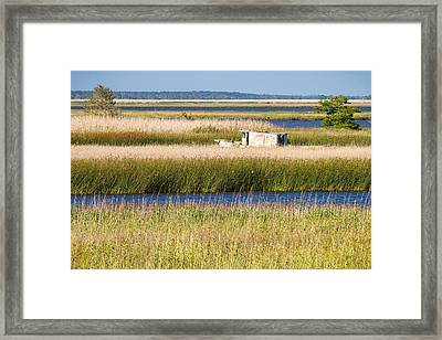 Coastal Marshlands With Old Fishing Boat Framed Print by Bill Swindaman