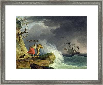 Coastal Scene In A Storm Framed Print by Claude Joseph Vernet