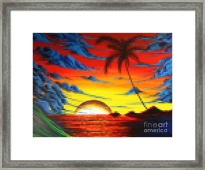 Coastal Tropical Abstract Colorful Pixel Art Digital Painting Compilation Tropical Bliss By Madart Framed Print by Megan Duncanson