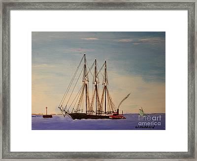 Coasting Schooner Glendon Framed Print by Bill Hubbard