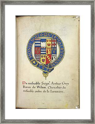 Coat Of Arms Of Arthur Grey Framed Print by British Library