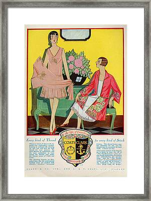 Coats And Clark  1920s Uk Art Deco Framed Print by The Advertising Archives