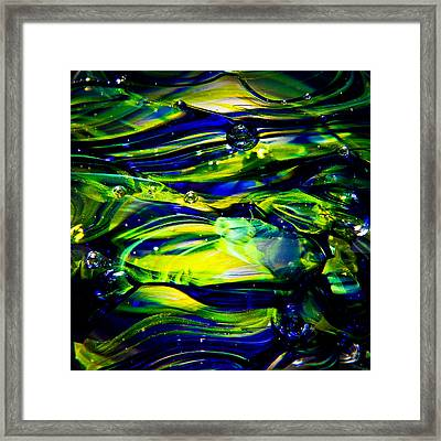 Cobalt Blue And Yellow Glass Macro Abstact Framed Print by David Patterson