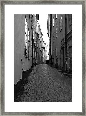Cobbled Street - Monochrome Framed Print by Ulrich Kunst And Bettina Scheidulin