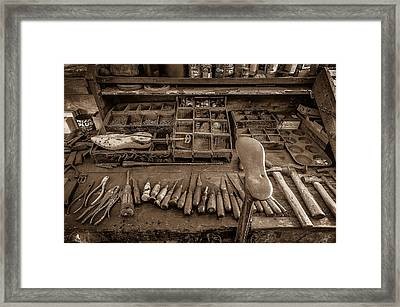 Cobblers Tools Bw Framed Print by David Morefield