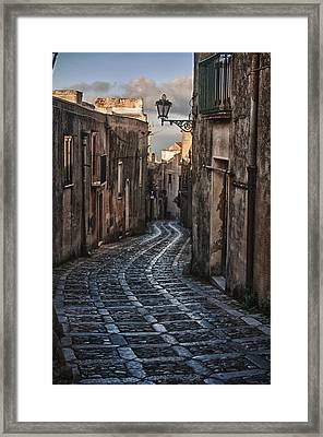 Cobblestone Street Erice Morning Framed Print by Sam Oppenheim