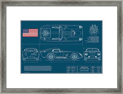 Cobra Daytona Coupe Blueplanprint Framed Print by Douglas Switzer
