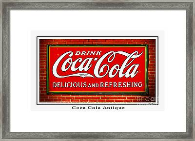 Coca Cola Antique Framed Print by Barbara Chichester