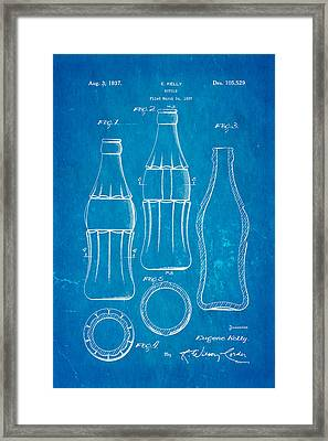 Coca Cola Bottle Patent Art 1937 Blueprint Framed Print by Ian Monk