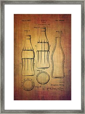 Coca Cola Bottle Patent From 1937 Framed Print by Eti Reid
