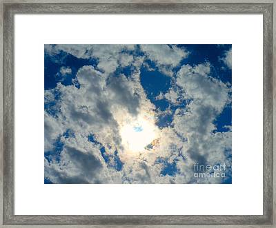 Cock Blocking Clouds Framed Print by Sherry Dooley