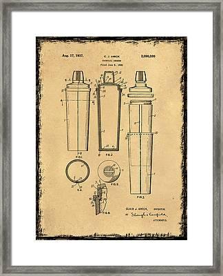 Cocktail Shaker Patent 1937 Framed Print by Mark Rogan