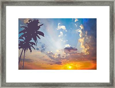 Coconut Trees In The Sunset Framed Print by Dominique Amendola