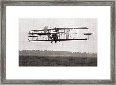 Codys Biplane In The Air In 1909 Framed Print by American School