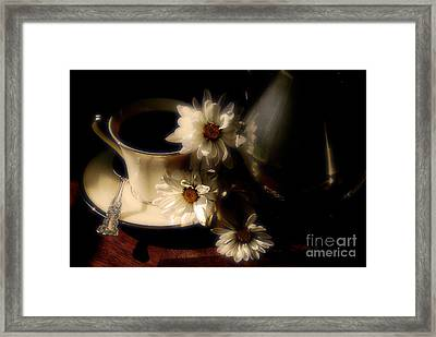 Coffee And Daisies  Framed Print by Lois Bryan