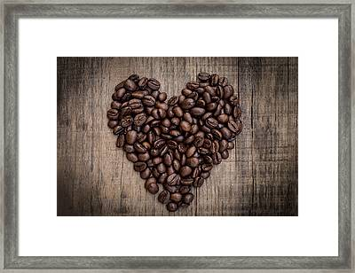 Coffee Bean Heart Framed Print by Aged Pixel