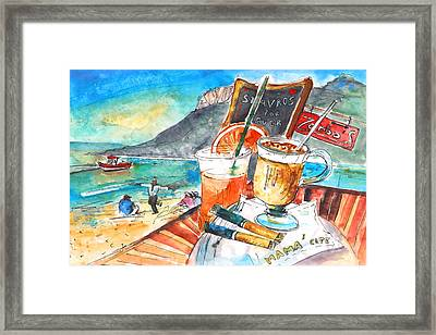 Coffee Break In Stavros In Crete Framed Print by Miki De Goodaboom