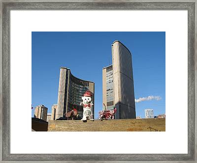 coffee cup animals at City Hall Framed Print by Alfred Ng