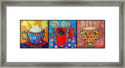 Coffee Cups Triptych  Framed Print by Ana Maria Edulescu
