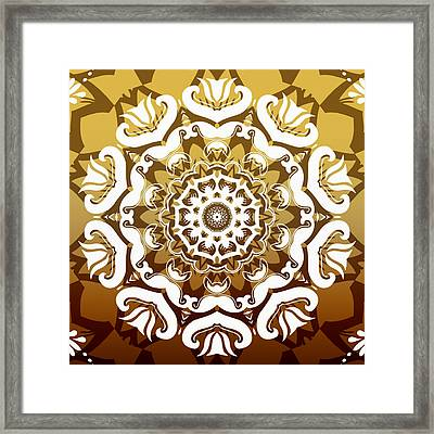 Coffee Flowers 10 Calypso Ornate Medallion Framed Print by Angelina Vick