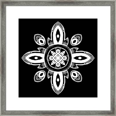 Coffee Flowers 8 Bw Ornate Medallion Framed Print by Angelina Vick