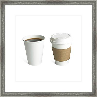 Coffee In Polystyrene And Paper Cups Framed Print by Science Photo Library
