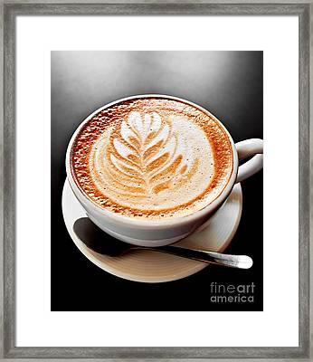 Coffee Latte With Foam Art Framed Print by Elena Elisseeva