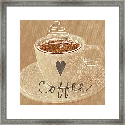 Coffee Love In Mocha Framed Print by Linda Woods