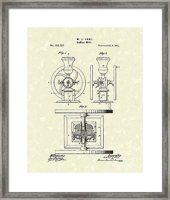 Coffee Mill 1875 Patent Art Framed Print by Prior Art Design