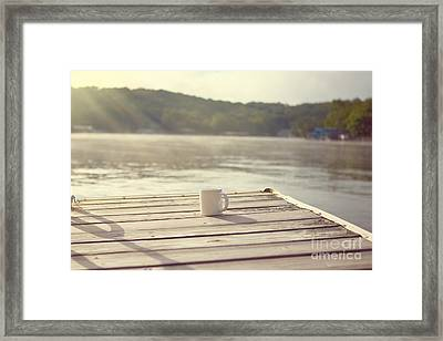 Coffee On The Dock Framed Print by Kay Pickens
