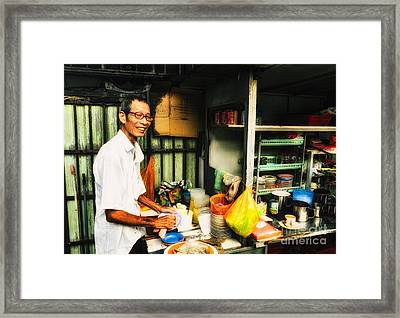 Coffee Vendor On South East Asian Street Stall Framed Print by David Hill