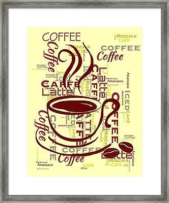 Coffee Word Art 2 Framed Print by Cindy Edwards