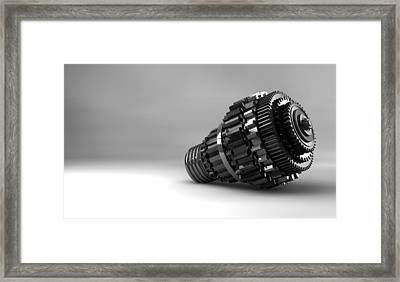 Cogwheel Lightbulb Shape Concept Framed Print by Allan Swart