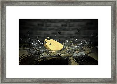 Coin Hitting Water Splash Framed Print by Allan Swart