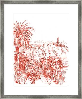 Coit Tower View From Russian Hill San Francisco Framed Print by Irina Sztukowski