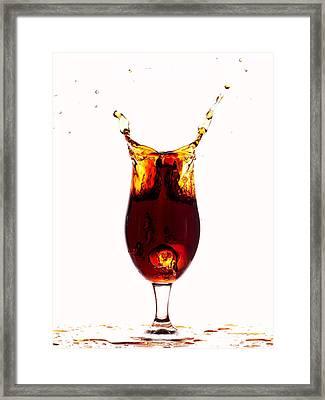 Coke Splashing In The Cup Liquid Art Framed Print by Paul Ge