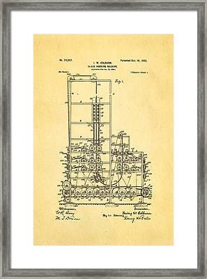 Colburn Flat Glass Working Machine Patent Art 1902 Framed Print by Ian Monk