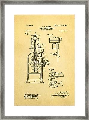 Colburn Glass Blowing Machine Patent Art 1902 Framed Print by Ian Monk