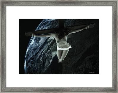Cold Tellus Crucifix Framed Print by Ramon Martinez