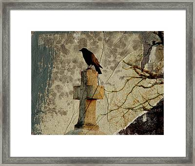 Collage Of Crow Framed Print by Gothicolors Donna Snyder
