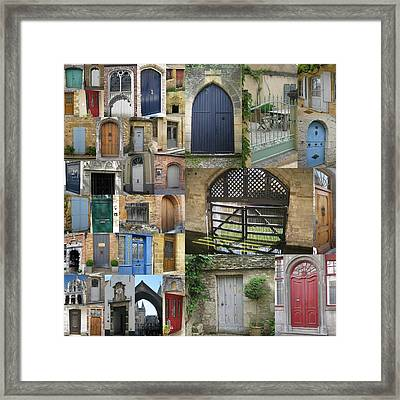 Collage Of Doors Framed Print by Cathy Jacobs