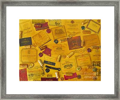 Collage Of Wine Bottle Labels And Corks Framed Print by Anthony Morretta